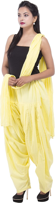 S & S Lemon Yellow Full cotton Patiala Salwar With Dupatta