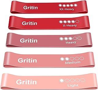 Gritin Weerstandsbanden, [Set van 5] Huidvriendelijke weerstand, fitness-oefenbanden met 5 verschillende weerstandsniveau...