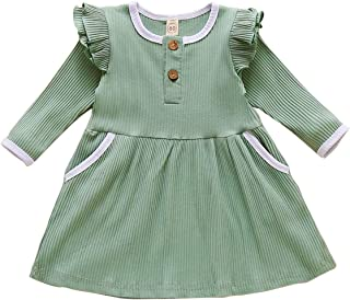 MODNTOGA Toddler Baby Girls Clothes Long Sleeve Dress Ruffled Skirt Infant Fall Outfits