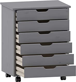 Linon Home Decor Products Corinne Six Drawer Wide, Grey Rolling Cart