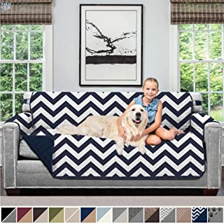 Sofa Shield Original Patent Pending Reversible Sofa Slipcover, 2 Inch Strap Hook, Seat Width Up to 70 Inch Furniture Protector, Couch Slip Cover Throw for Pets, Kids, Cats, Sofa, Chevron Navy White