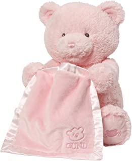 Baby GUND My First Teddy Bear Peek A Boo Animated Stuffed Animal Plush, Pink, 11.5""