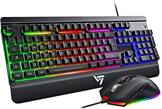 VicTsing Mouse Tastiera Gaming, Tastiera e Mouse Gaming PC, Nero Scuro
