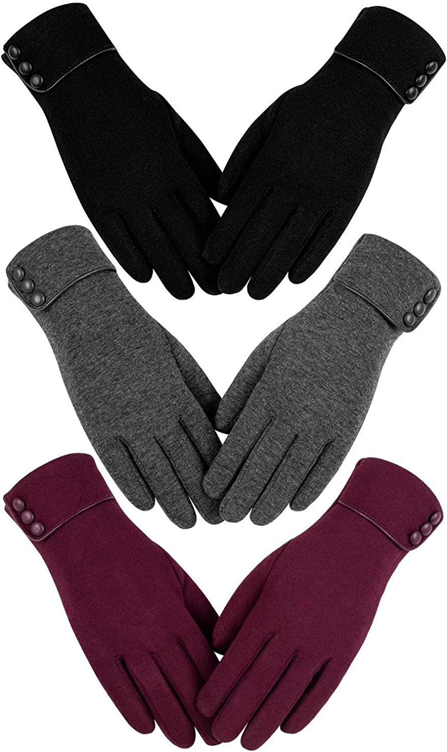 Womens Winter Warm Gloves, Touchscreen Texting Fleece Lined Windproof Driving Gloves Hand Warmer By Alepo (Black&Gray&Burgundy-M)