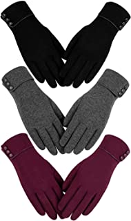 Womens Winter Warm Gloves, Touchscreen Texting Fleece Lined Windproof Driving Gloves Hand Warmer By Alepo