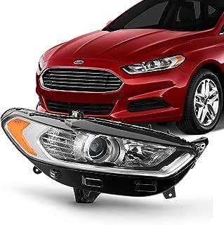 [Halogen Models] Projector Chrome Headlight Fits 2013 2014 2015 2016 Ford Fusion 4Door Sedan Right Passenger Side