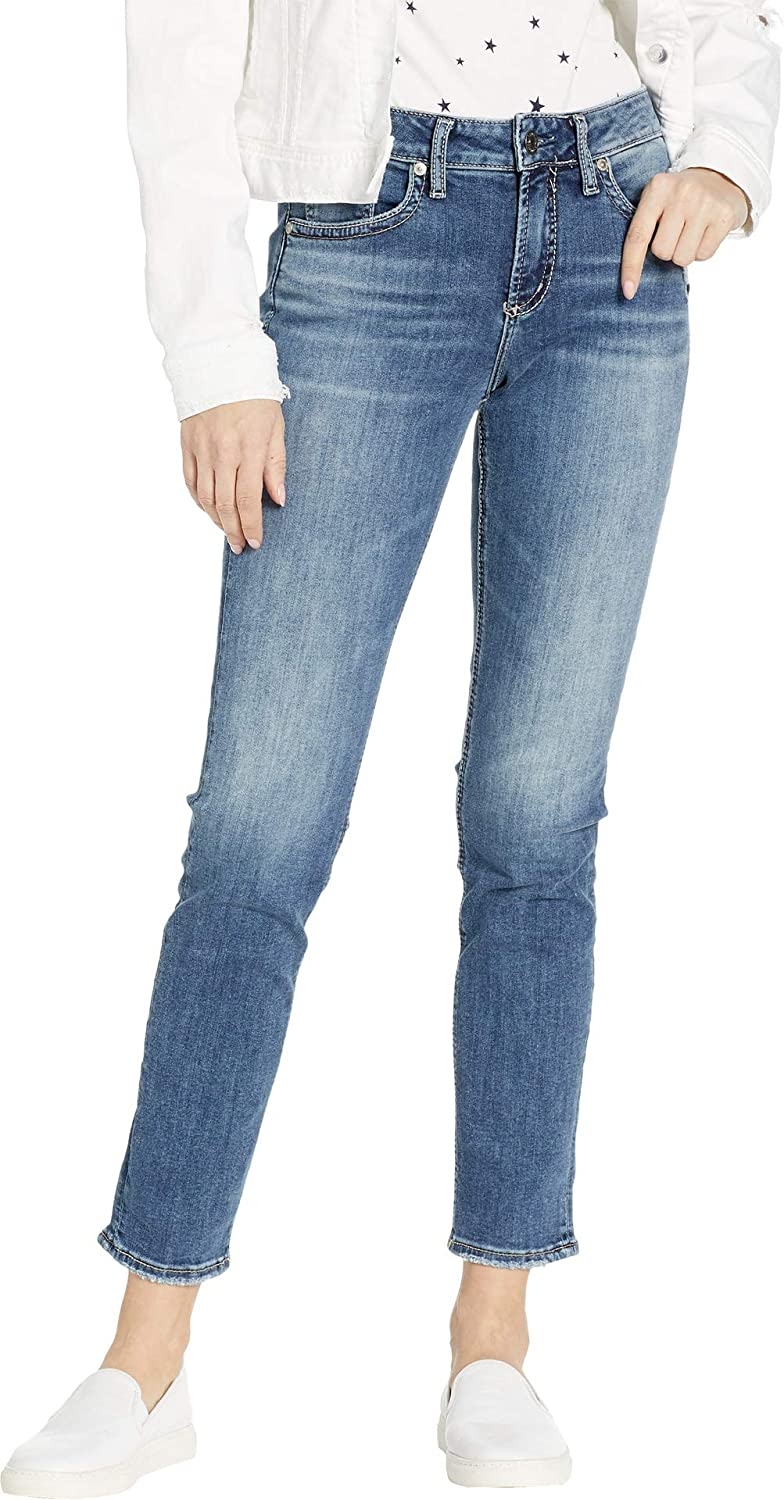 Silver Jeans Co. Womens Avery Curvy Fit High Rise Slim Leg Jeans Jeans
