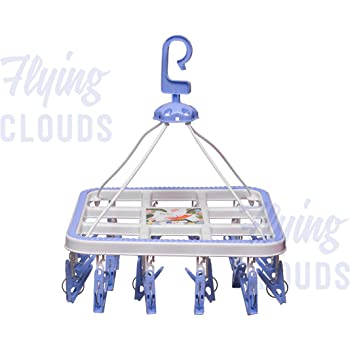 River Plast Plastic Cloth Drying Stand Hanger with 24 Clips/pegs, Baby Clothes Hanger Stand, Blue or Pink, Set of 1