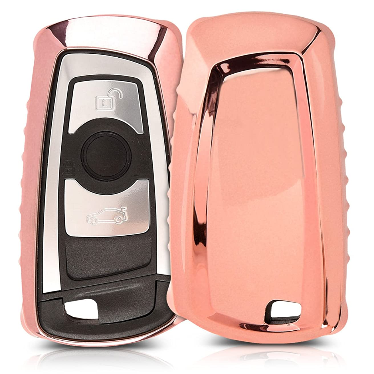 kwmobile Car Key Cover for BMW - Soft TPU Silicone Protective Key Fob Cover for BMW 3 Button Remote Control Car Key (only Keyless Go) - Rose Gold High Gloss