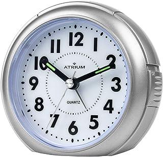 Atrium A240-19 analog icke-tickande väckarklocka, silver, med lätt och snooze-funktion