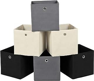 SONGMICS Lot de 6 Boîtes de Rangement, Cubes de Rangement Pliables en Tissu Non Tissé, Coffret de Rangement pour Jouets, 2...