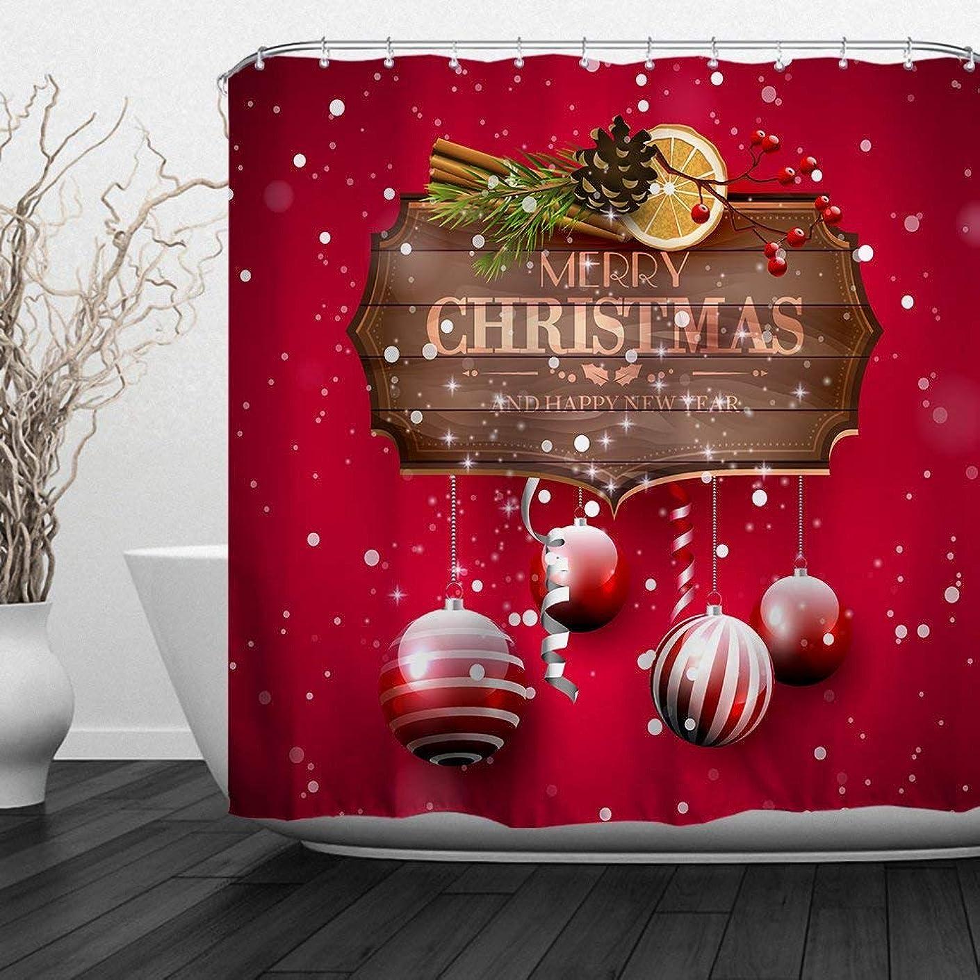 モーテル楽観的無法者メリークリスマスホームインテリアポリエステルファブリックバスルームシャワーカーテン72