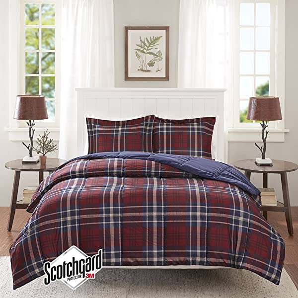 Madison Park Essentials Bernard 3M Scotchgard Down Alternative Comforter Mini Set Twin Twin X Large Red