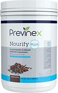 Previnex Nourify PLUS Plant Based Protein Shake - All Natural Vegan Protein Powder, High Protein & Low Sugar, Gluten Free,...