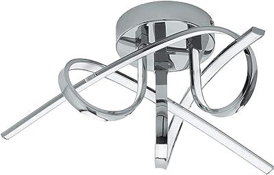 Eglo Plafonnier Led Selvina, 3 Ampoules, Lampe de Salon, Lampe de Cuisine en Aluminium et Plastique, Lampe de Couloir en Chrome, Blanc, Ø 52 cm