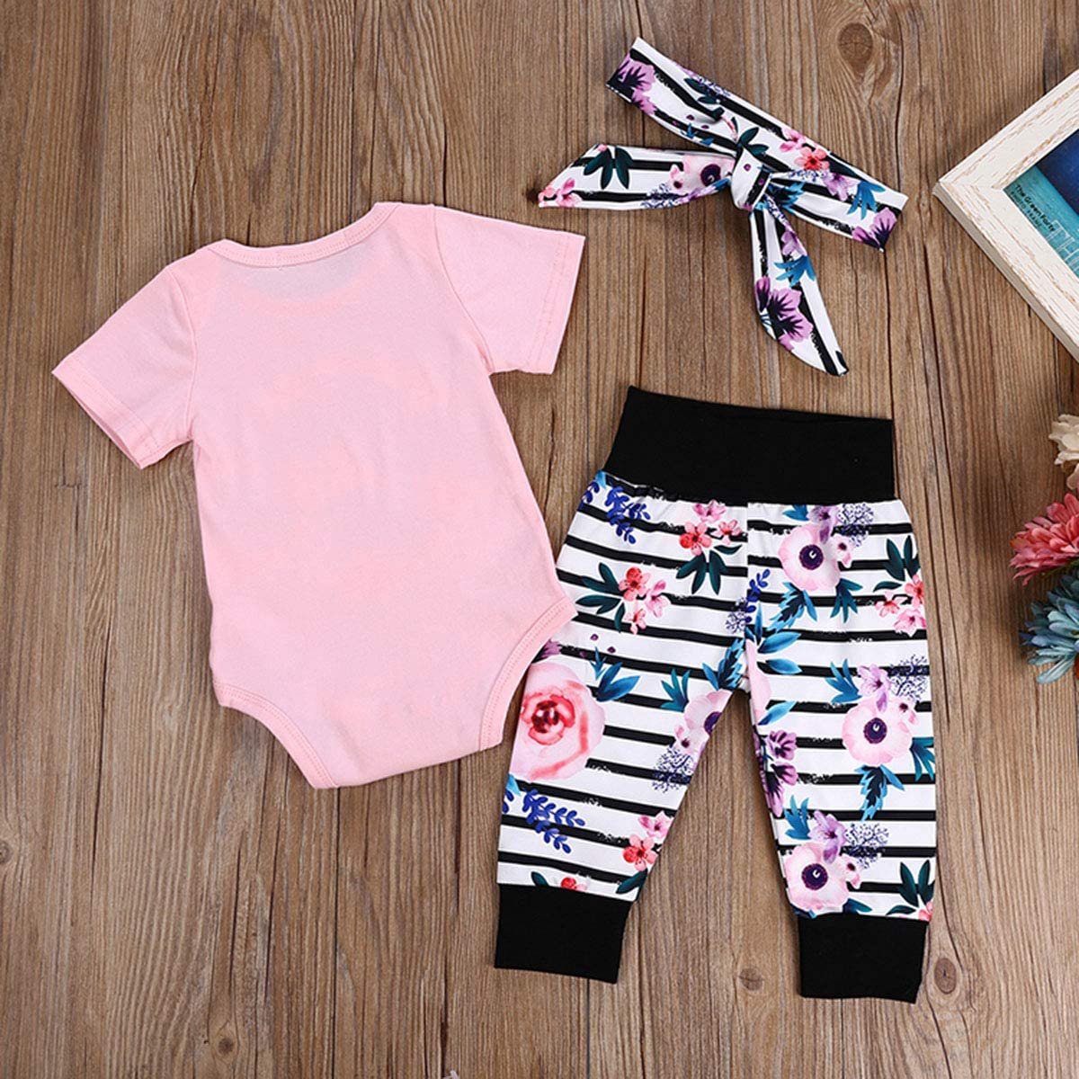 Newborn Baby Girls Clothes Letters Romper Floral Stripe Pants Headband Outfits Set