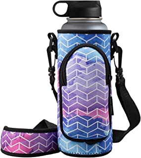 RoryTory Neoprene Water Bottle Sleeve Carrier Holder with Shoulder Strap, Pouch, Pocket & Carrying Handle (Fits 32oz / 40o...