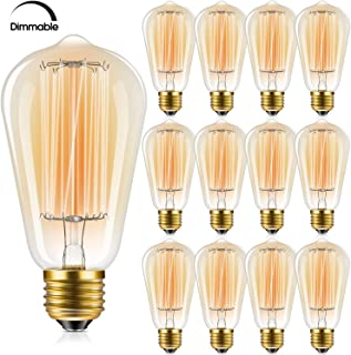 Edison Bulb, FadimiKoo Vintage Bulb 60W Dimmable ST58 Squirrel Cage Filament Edison Lihgt Bulb For Home Light Fixtures Decorative, Pack of 12