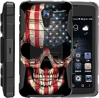 TurtleArmor | ZTE Uhura Case | ZTE Ultra Case | ZTE Quest Case | N817 [Hyper Shock] Hybrid Dual Layer Armor Holster Belt Clip Case Kickstand - US Flag Skull