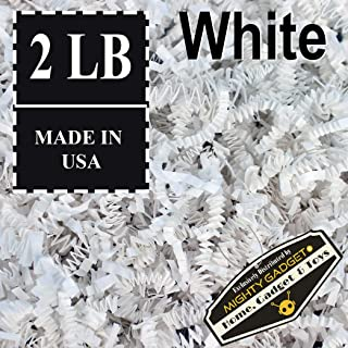 Mighty Gadget (R) 2 LB White Crinkle Cut Paper Shred Filler for Gift Wrapping & Basket Filling