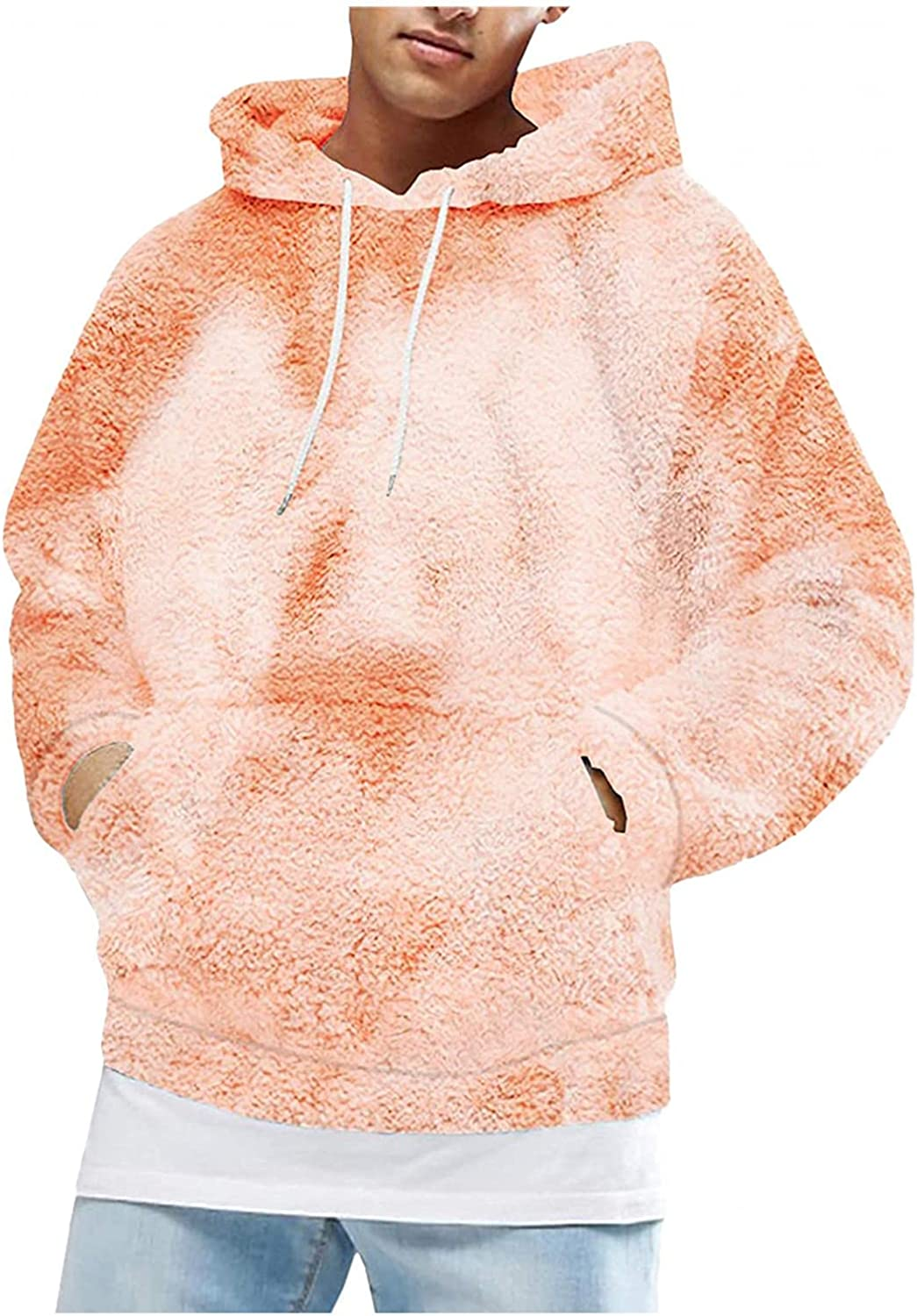 Burband Mens Tie Dye Fuzzy Sherpa Hoodies Cozy Loose Pullover Sweatshirts with Hood Solid Color Unisex Fluffy Teddy Coats
