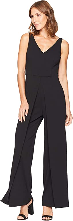 Knit Crepe V-Neck Jumpsuit