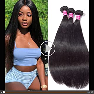 Gabrielle Weave Hair (16 18 20) 3 Bundles Brazilian Remy Human Straight Hair 100% Unprocessed Brazilian Virgin Human Hair Weave Straight Hair Bundles Extension Natural Color Hair Brazilian