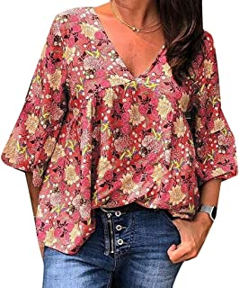 MK988 Womens Floral Print T-Shirt Fashion Half Sleeve V Neck Plus Size Blouse Top T-Shirt