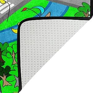 Use7 Alfombra de Juego de Mapa de Carretera, alfombras Antideslizantes, Alfombrillas para Dormitorio Infantil, Tela, 50 x 80 cm(1.7' x 2.6' ft)
