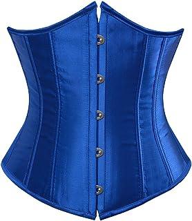 مشد كورسيه بتصميم فينتاج وستيمبنك اسفل الصدر بمقاس كبير، لنحت الخصر والصدر وشد البطن للنساء أزرق XX-Large