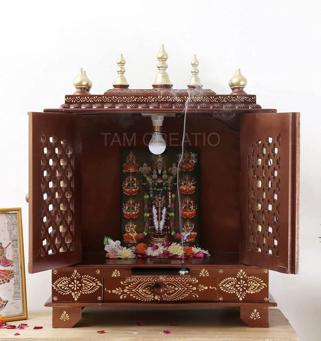 TAM Creatio Wooden Pooja Mandir |Indian| |Hindu| |Decoration| |Puja| |Cabinet| |Temple| |Bhagwan| |Stand| |Mandapam| |Wall| |Hanging| Decor for Home in USA (24x12x30 Inches) (24X12x30 Inches)
