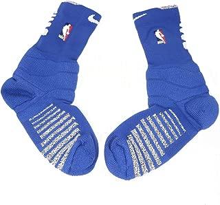 Men's NBA Authentics Nike Detroit Pistons Basketball Team Issued Crew Socks Large (Blue/Heather Grey)