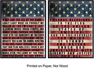 Patriotic USA American Flag Wood Sign Replica Photo Poster Set - Vintage Farmhouse Shabby Chic Room Wall Art Decorations, Home or Office Decor - Gift for Military Veterans, Vets, Republican Patriots