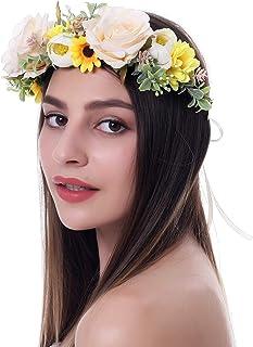 Weddings Coral Flower Crown Hair Accessory Floral Headband Flower Headpiece Floral Crown Bridesmaid Flower Headband Flower Crown PeachSilver