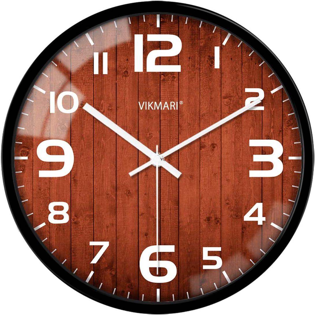 VIKMARI Cristal Silencio para no Hacer tictac del Reloj de Pared Retro de los números árabes Ronda de Relojes de Pared Decorativos 12 Inch Tipo de Borde Negro