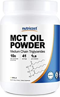 Nutricost Premium MCT Oil Powder (1 LB, Vanilla) - Best for Keto, Ketosis, and Ketogenic Diets - Zero Net Carbs, Non-GMO a...