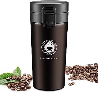JEEZAO Taza de Viaje, Termo Taza Café 380ML, Frasco de Vacío de Acero Inoxidable,Aislado al Vacío,a Prueba de Fugas,sin BPA (marrón)