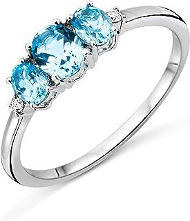 Miore Trilogy Topaz, anello da donna, oro bianco da 9 carati (oro 375), con topazio blu da 0,82 carati e diamanti da 0,02 ...