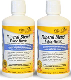 2 Pack of Vital Earth Minerals Mineral Blend Fulvic-Humic -32 Fl. Oz. - 1 Month Supply (Each) 64 oz total- Vegan Liquid Io...