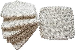 Toockies  Hand Knit Organic Cotton Scrub Cloths in Vintage Dish Cloth Pattern- 6 Pack