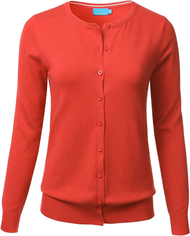FLORIA Women's Button Down Crew Neck Long Sleeve Soft Knit Cardigan Sweater Orange M