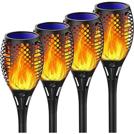 Martiount Lumière solaire de torche Lampe Torche de Jardin Torche Solaire Imperméable Lumières Solaire de Flammes Exterieur Decoration Jardin,Chemins (4pack)