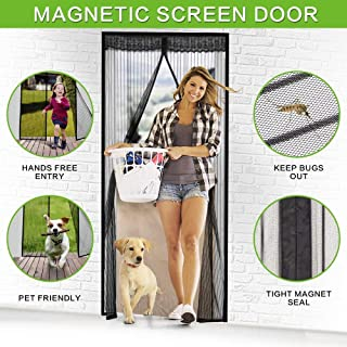 Magnetic Screen Door, VDEALEN Door Mesh Fly Mosquito Curtain with Magnets & Full Frame Adhesive Strips,Full Frame Hook & Loop, Hands Free, Pet Friendly,Fits Door Size up to 29'' x 78'' (Screen Door Si