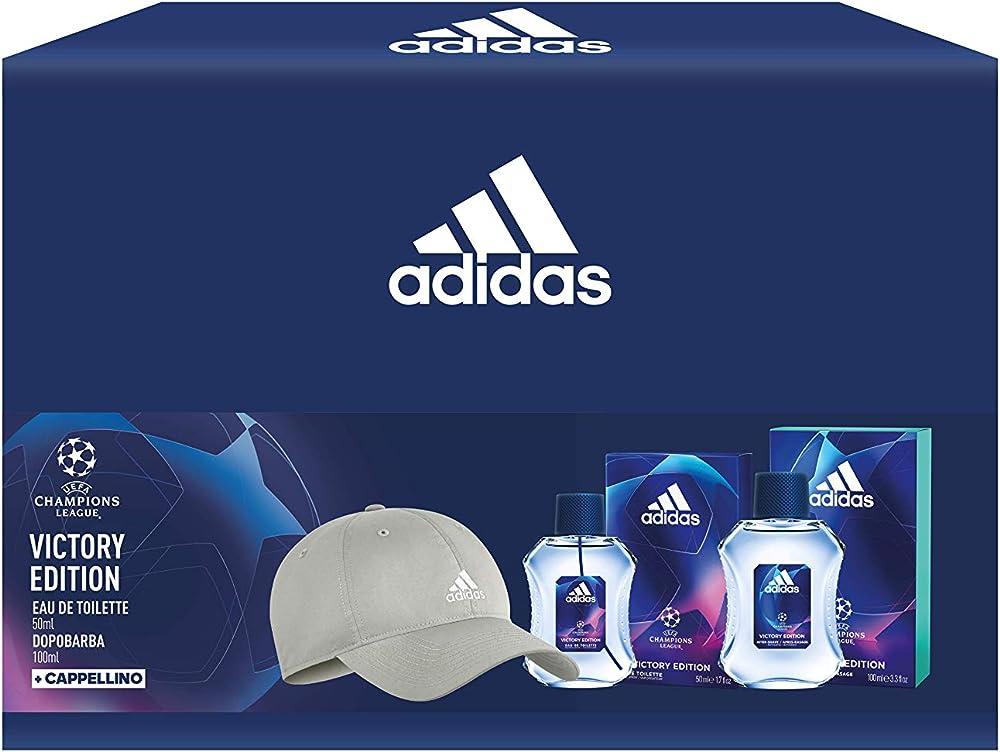 Adidas, confezione regalo uefa champions league victory edition,profumo,dopobarba,cappellino 99350086759