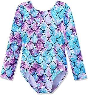 Gymnastics Long Sleeve Leotards for Girls Kids Ballet Sparkle Ribbons Dancewear