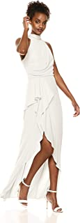 Halston Heritage Women's Sleeveless Mock High-Neck Dress with Drape Front Detail