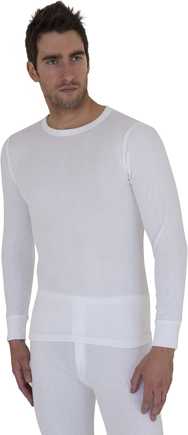 Mens Thermal Underwear Long Sleeve T Shirt Top (British Made) (Chest: 32-34inch (Small)) (White)