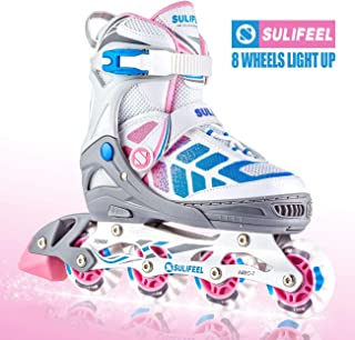 Sulifeel Arigena 4 Size Adjustable Light up Inline Roller Skates for Girls and Boys, Rollerblades for Kids and Women Adults Red Purple Green