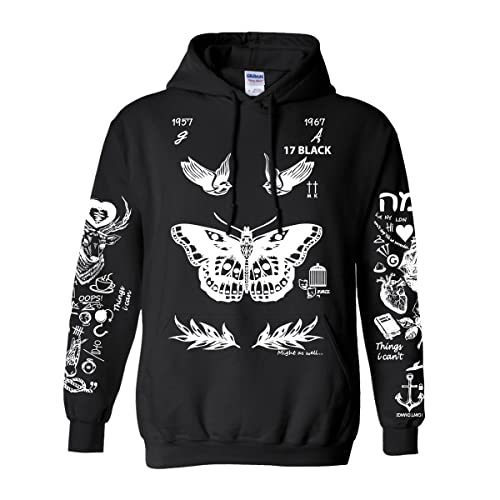 Noonew Womens Larry Stylinson Tattoos Hoodies Black