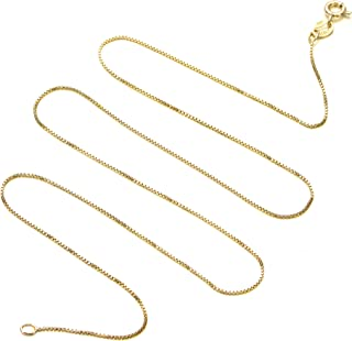 "Sturdy .7mm Thin & Strong Italian Box Chain Gold Plated Sterling Silver 925 Nickel Free Pendant Necklace 14""-36"" inches"
